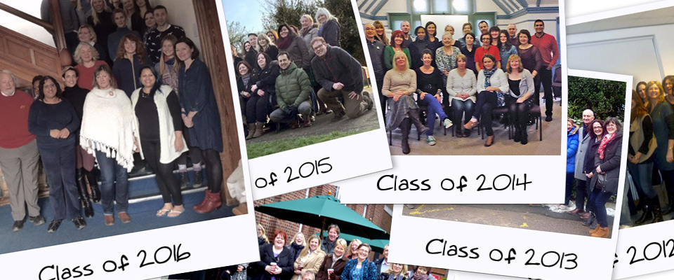 Montage of class photos over many years