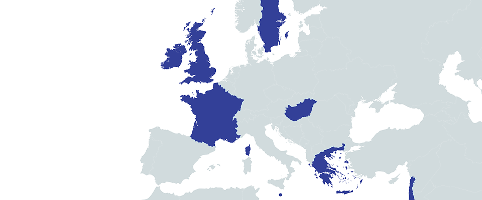 Map of Europe showing origins of students